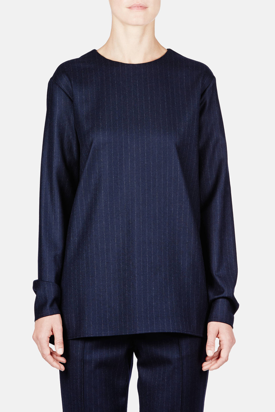Shirt 07 Long Sleeve Button Blouse - Navy Pinstripe