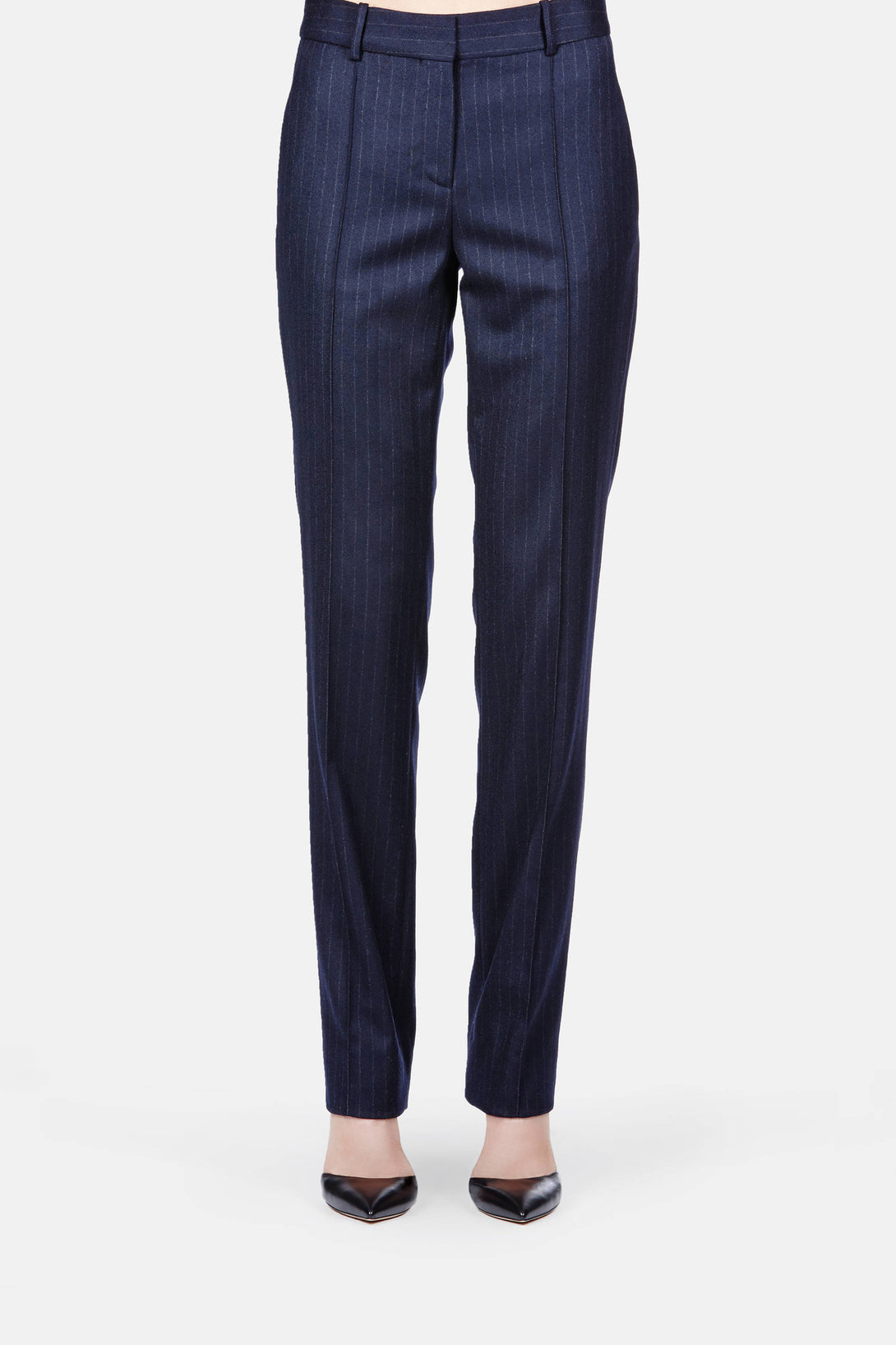 Trouser 02 Relaxed Long Leg Trouser - Navy Pinstripe