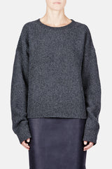 Sweater 03 Seed Stitch Oversize Crew - Charcoal