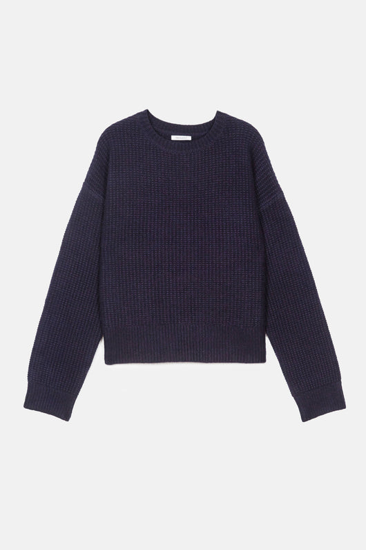 Sweater 03 Seed Stitch Oversize Crew - Navy