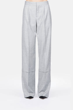 Trouser 03 Wide Leg Seamed Trouser - Heathered Grey