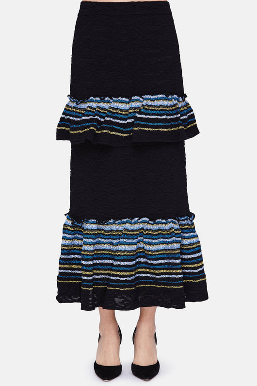 Jacquard Ruffle Knit Skirt - Navy