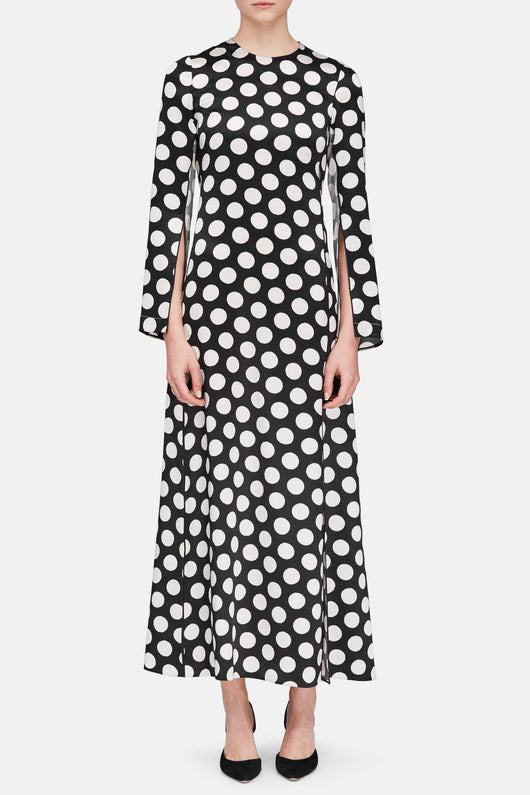 Long Sleeve Dress - Black/Beige Big Dots