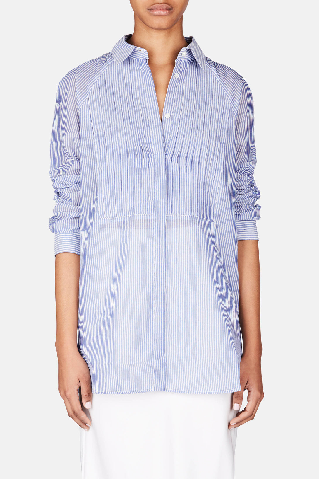 Pleated Tuxedo Shirt - Blue