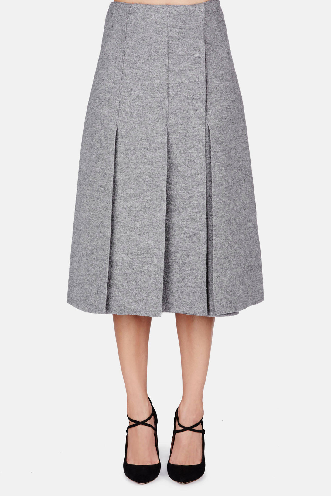 Long Skirt with Slits - Grey Melange