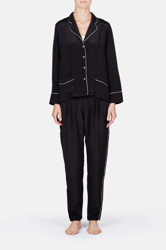Long Sleeve Pajama Shirt with Pockets & Tapered Pajama Pant - Noir Drap