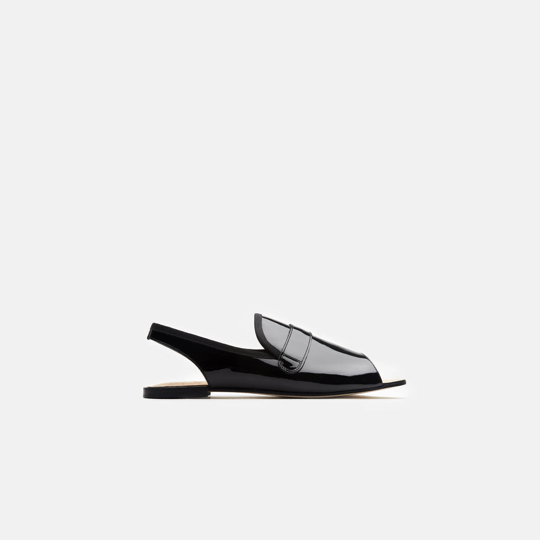 Billie Slingback Open-Toe Loafer - Noir