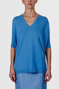 Cashmere SS Oversized Sweater - Sky Blue