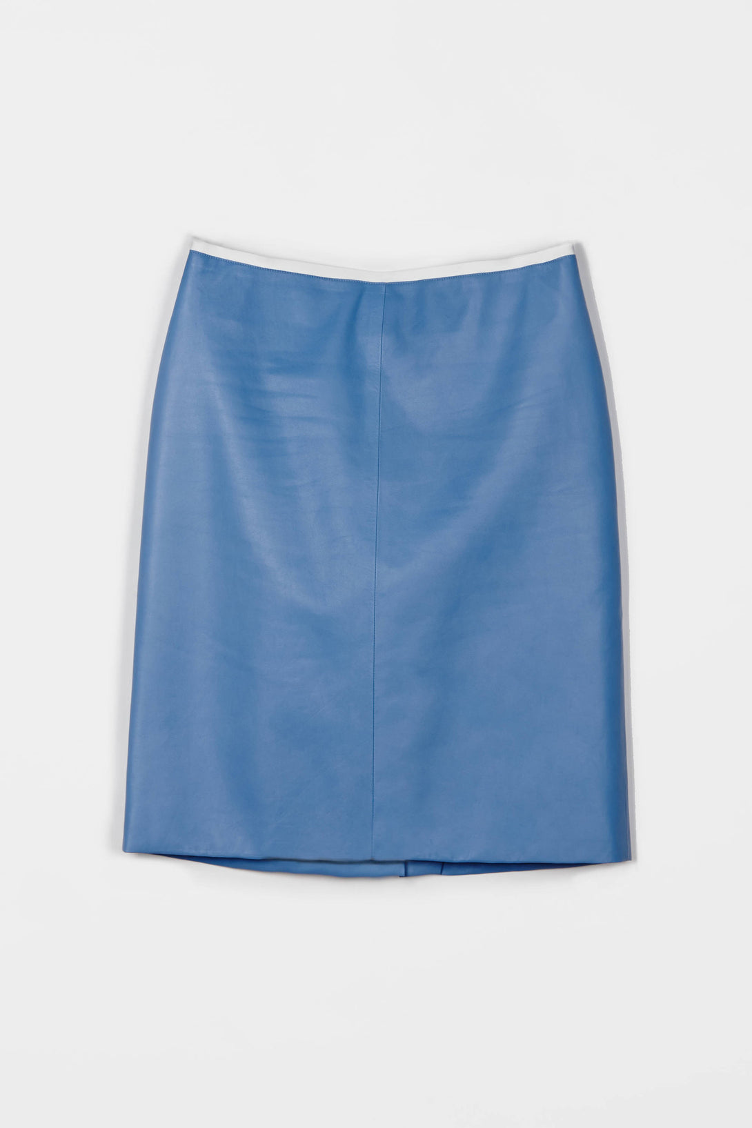Lightweight Nappa Pencil Skirt - Sky Blue