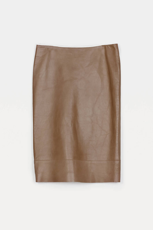 Lightweight Nappa Pencil Skirt - Khaki