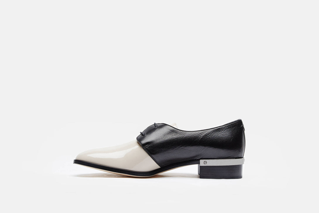 Nappa Patent Leather Flat Oxford - Nude Black – The Line 2fa9c20c7b8