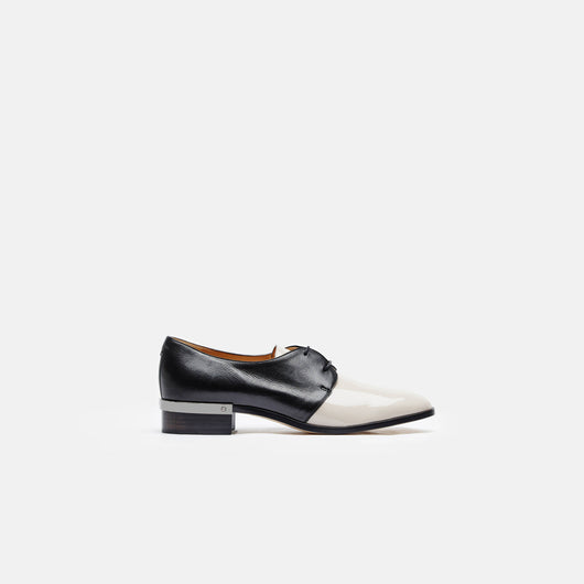 Nappa/Patent Leather Flat Oxford - Nude Black