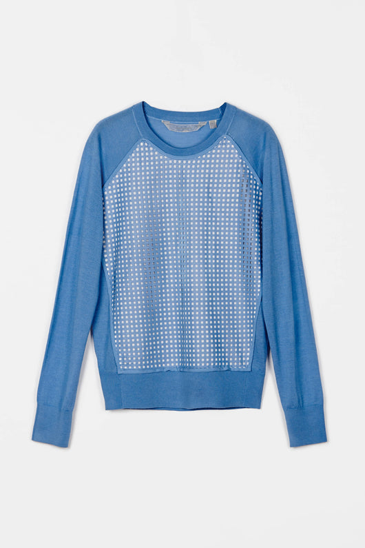 Silk Cashmere Blend Baseball Crewneck w/ Punched Leather - Sky Blue w/ Mthrwell & White