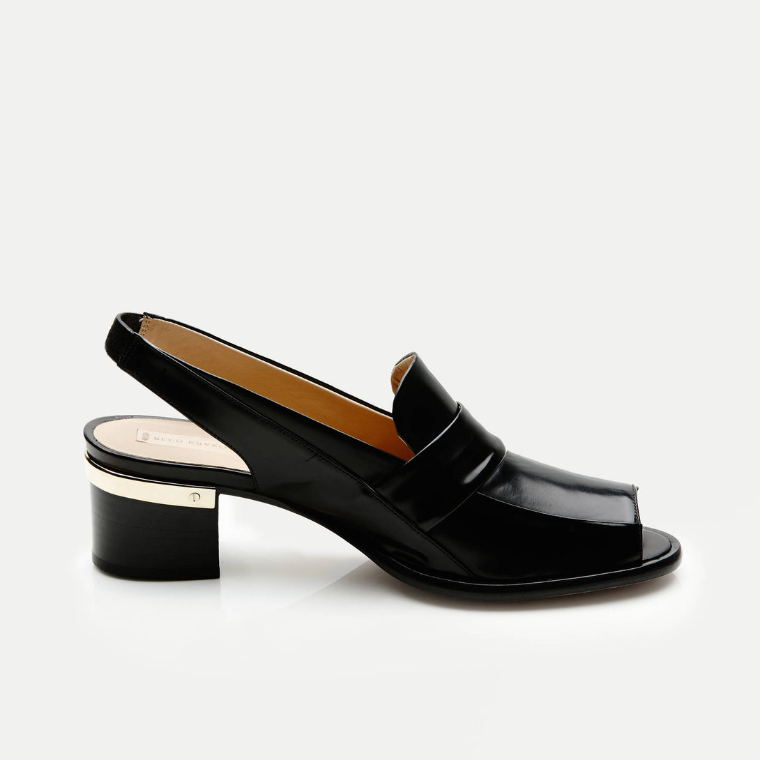 Slingback Peeptoe Oxford with Metal Heel - Black