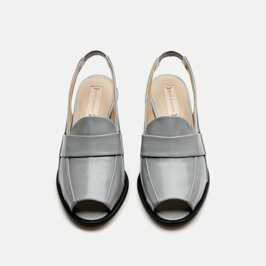 Slingback Peeptoe Oxford with Metal Heel - RK Grey