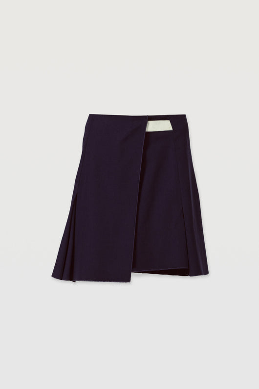 Wrap Panel Skirt - Navy