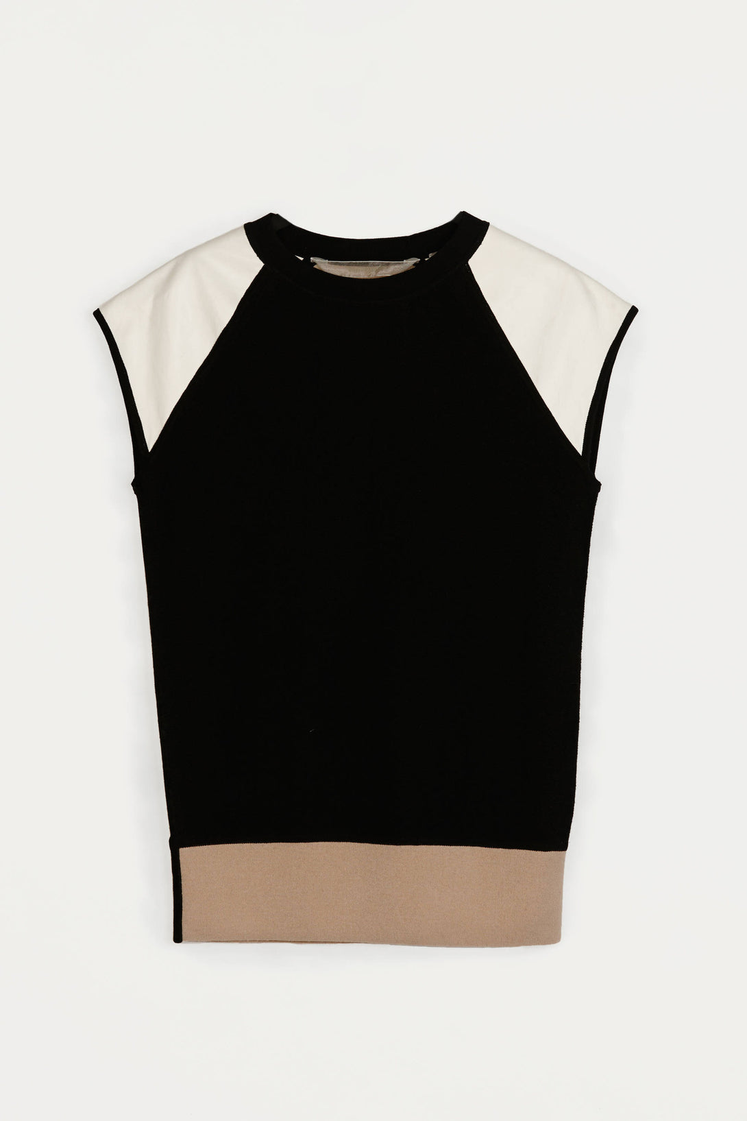 SS Sweater with Leather - Black