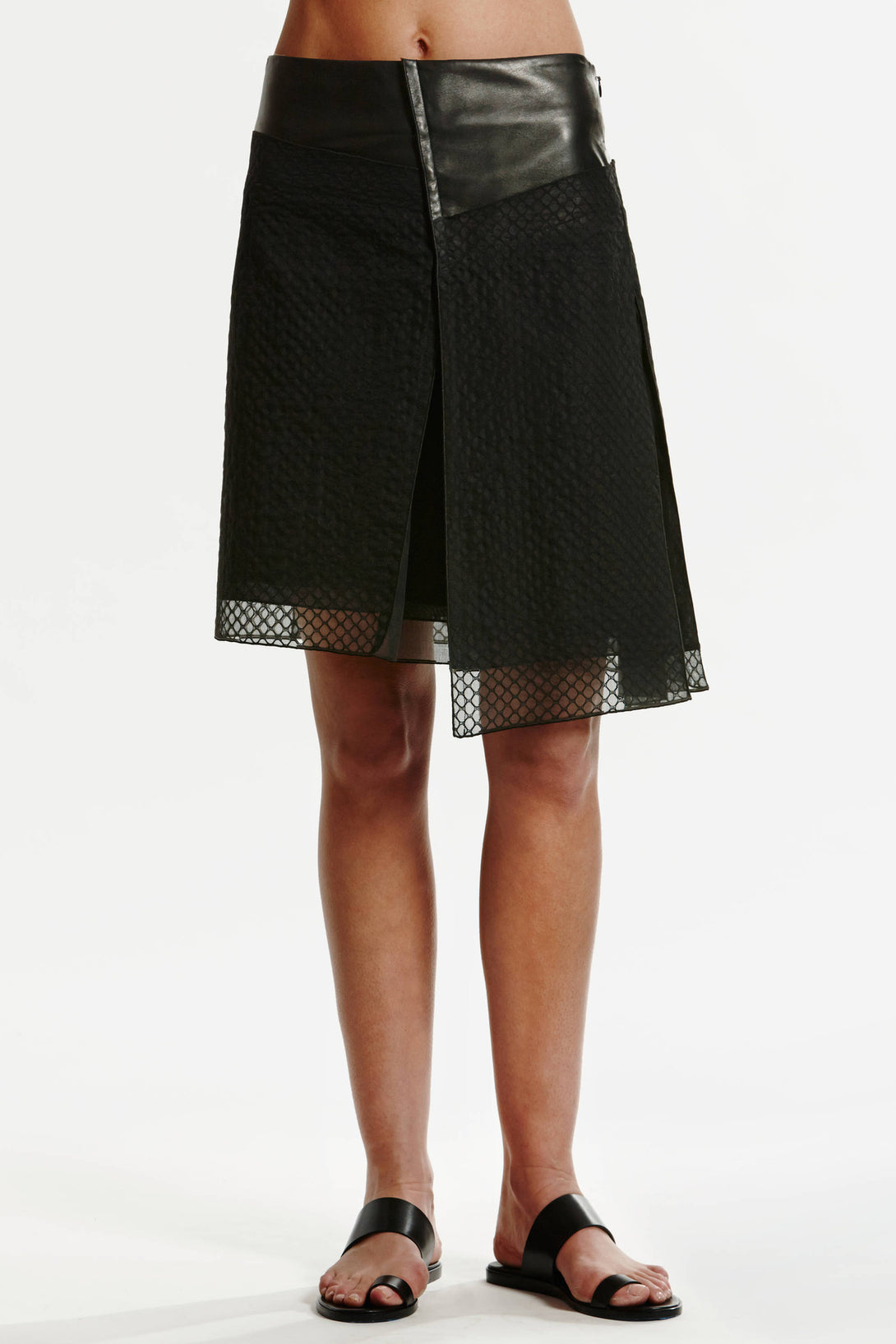 Asymmetrical Skirt with Leather - Black