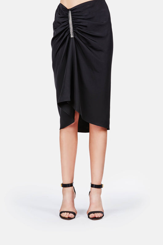 Liquid Twill Skirt with Ruche Detail - Black