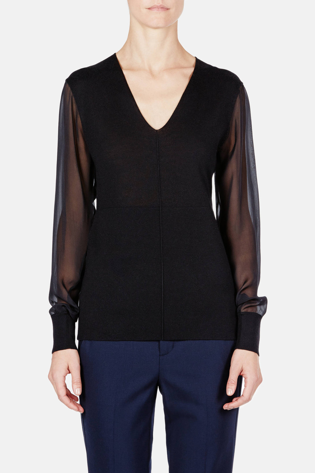 Silk Cashmere Chiffon Sleeve V-Neck - Black
