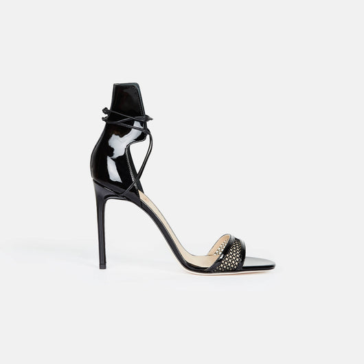 Mesh Ankle Wrap Sandal - Black