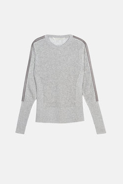 Sweater with Leather Stripe on Sleeve - Grey