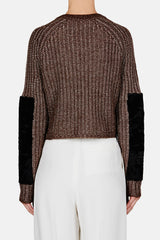 Cropped Zip Sweater with Astrakhan Sleeve - Military