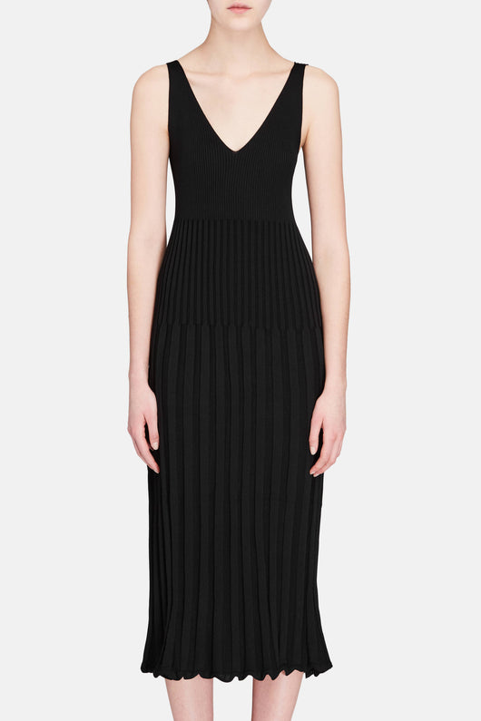 Ribbed Camisole Dress - Black/White