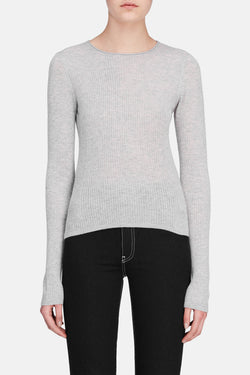 Ribbed Cropped Pullover - Heather Grey