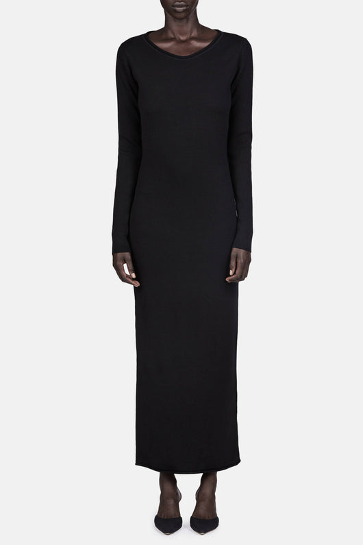 Roll Neck Fitted Dress - Black
