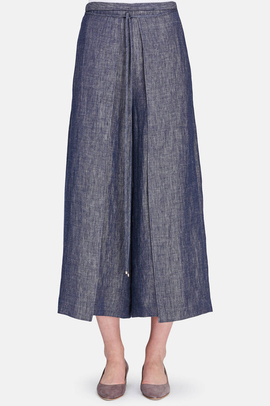 Wrap Panel Trouser - Indigo