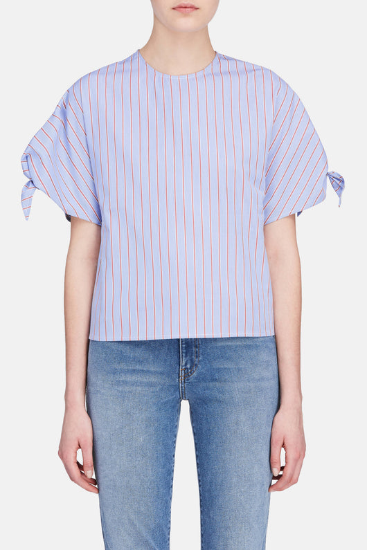 Wrap Sleeve Blouse - Blue/Ruby