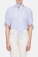 Ruched Sleeve V-Neck Top - White/Blue