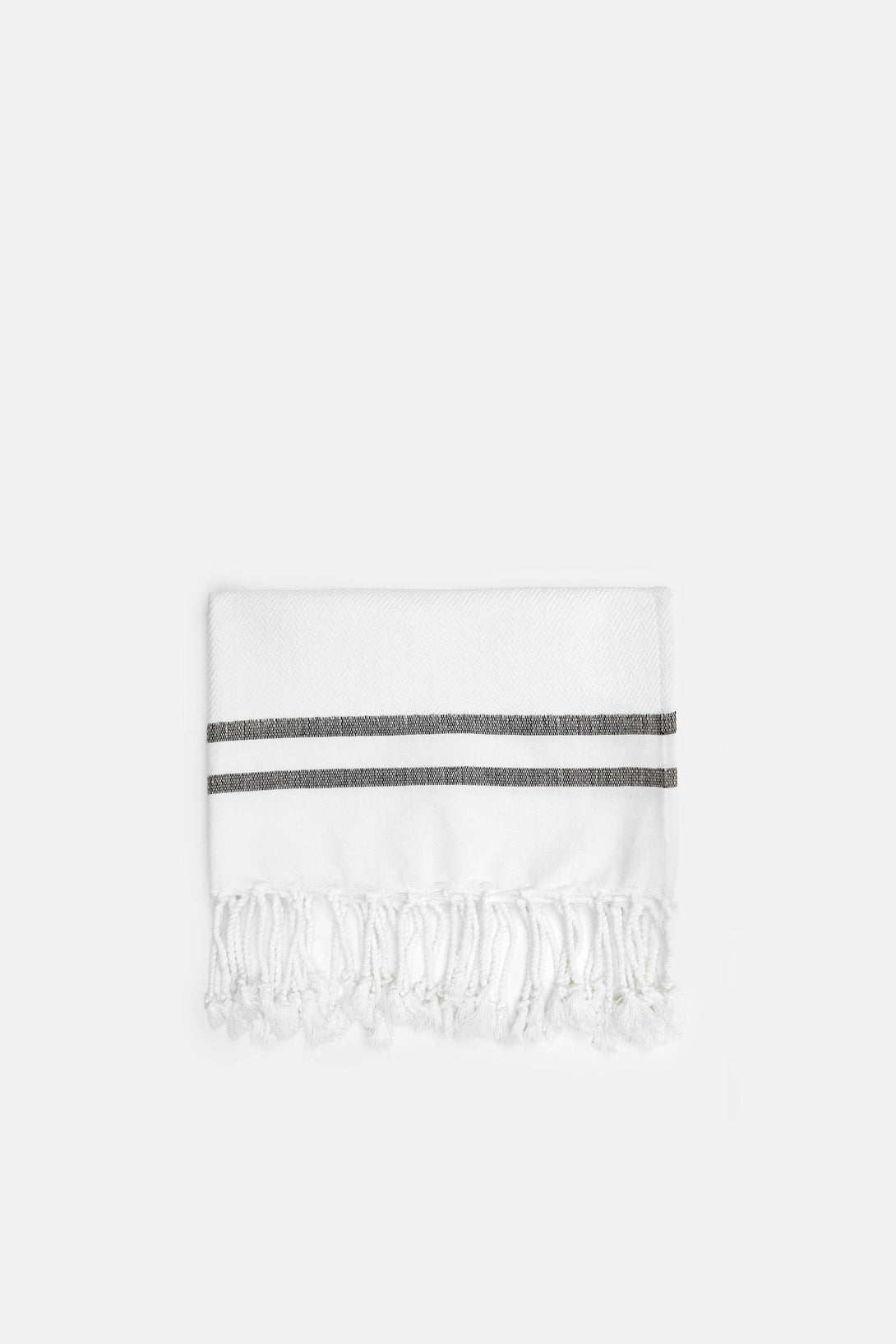 Herringbone Guest Towel with Two Stripes - White/Black
