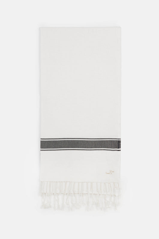 Fouta Large Stripes - White/Black