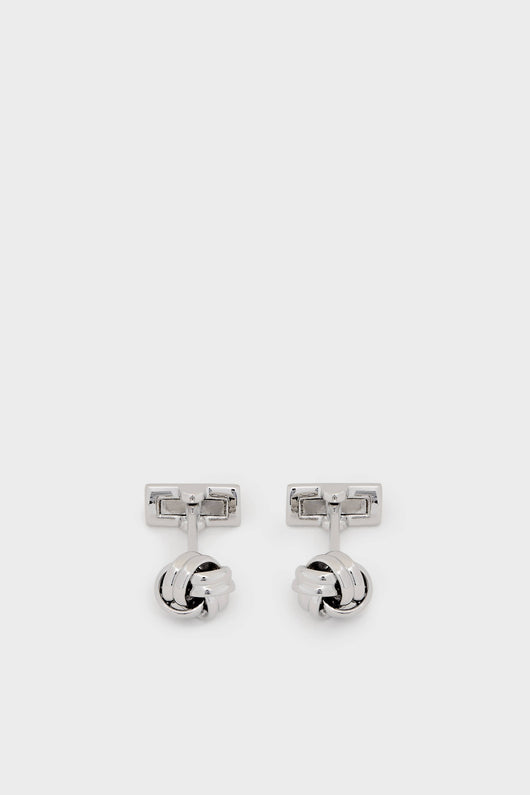 Black Tie Collection Cuff Links - Silver Knot