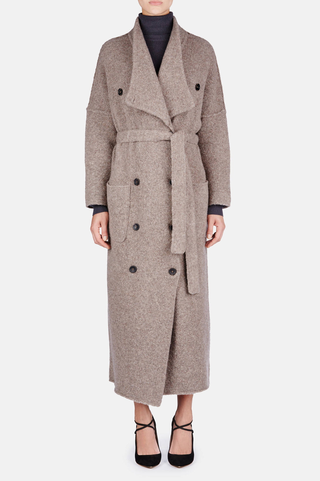 Harrison Knit Trench Coat - Oak