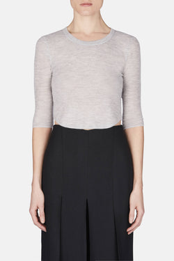 Cashmere Ribbed Cropped Top - Heather