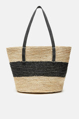 Maxi Striped Tote with Leather Handles - Natural/Black