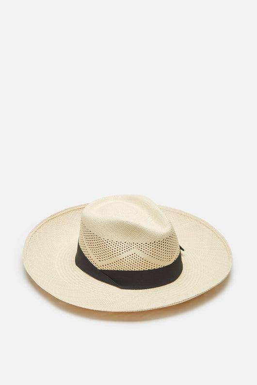 Panama Hat Long Brim Calado - Natural/Black