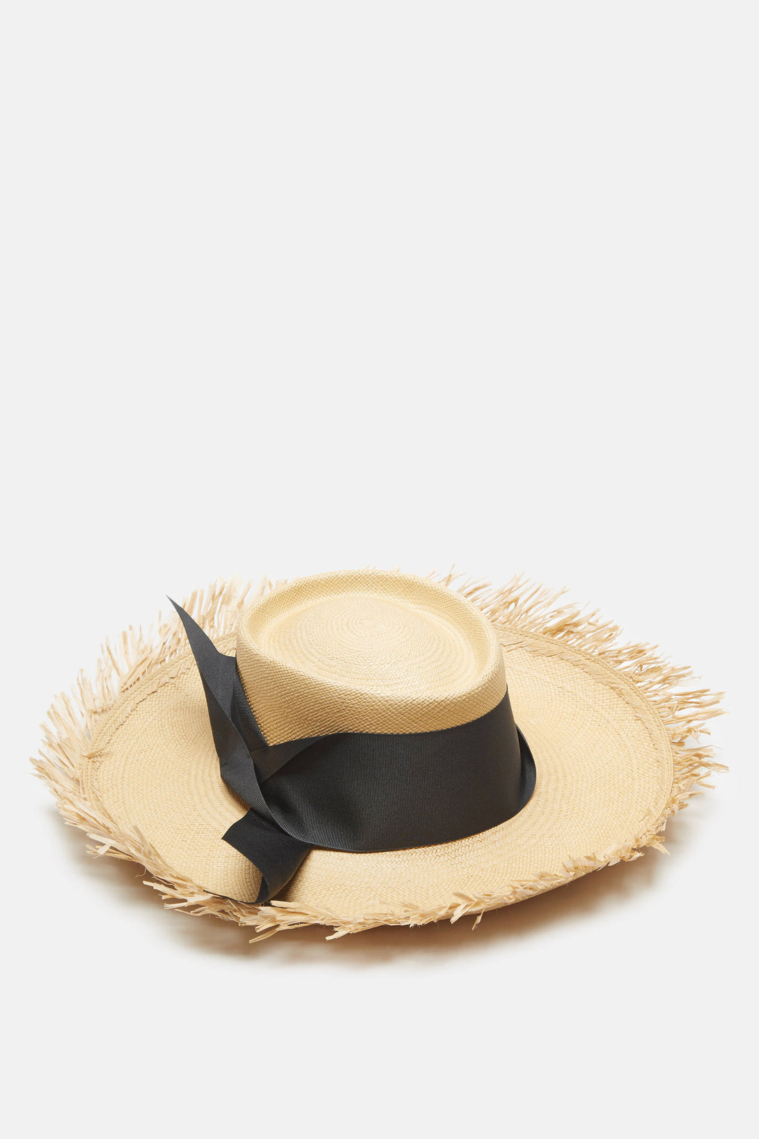 Dumont Long Brim Hat with Frayed Brim - Beige/Black