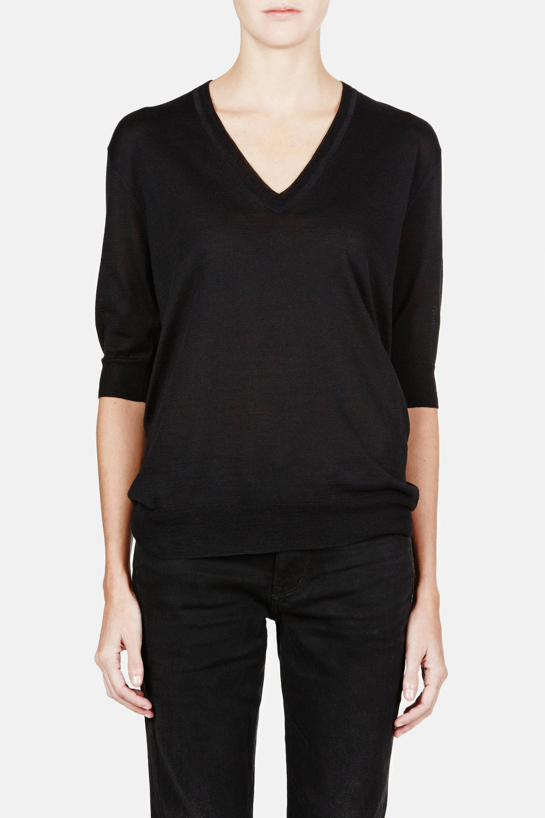 Elbow Sleeve Perfect V-Neck - Black