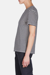 Striped Boy T - Navy/Oatmeal