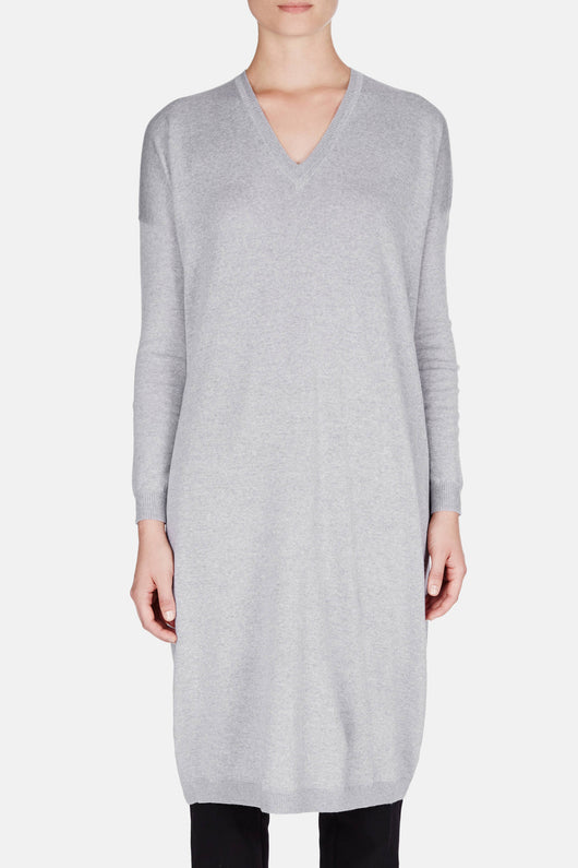 Merino Longer V-Neck - Heather Grey