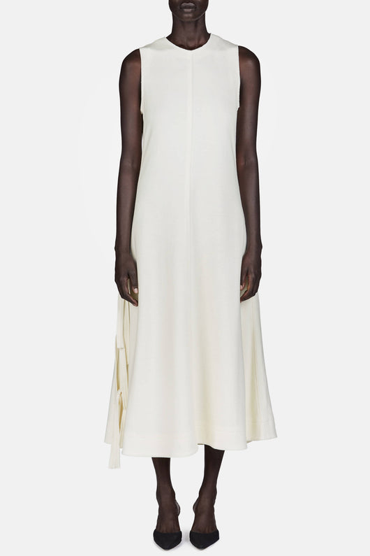 Sleeveless Flared Long Dress w/Ties - Off-White