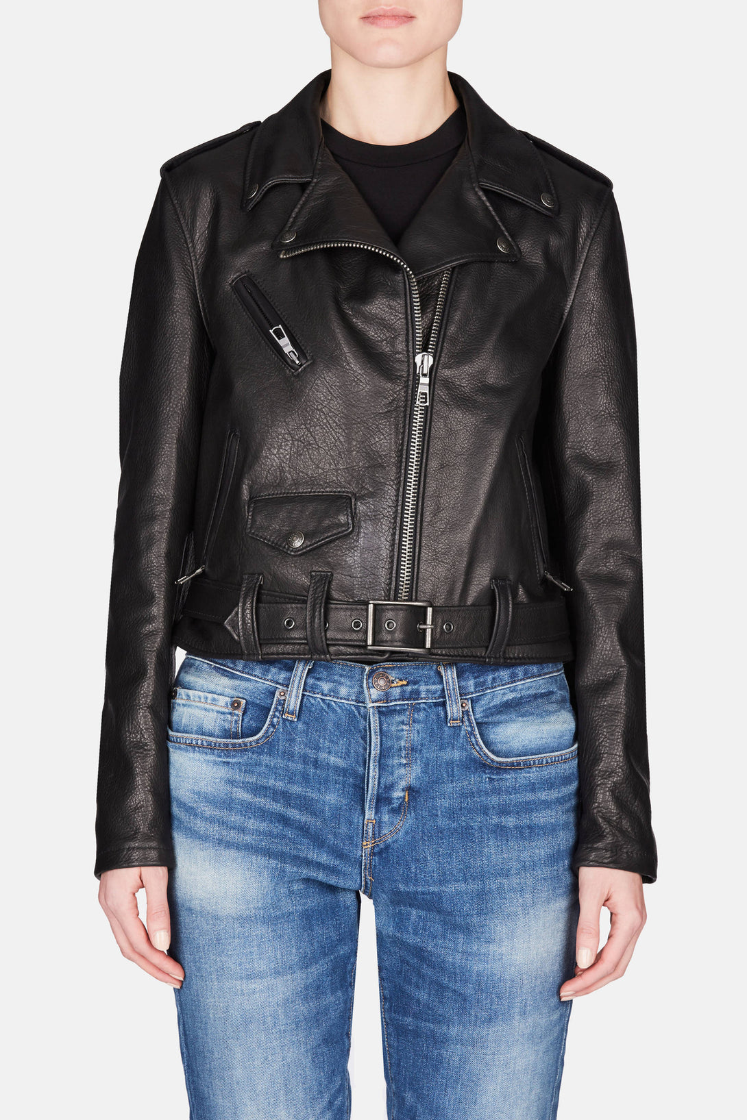 Schott x The Line Leather Jacket - Black