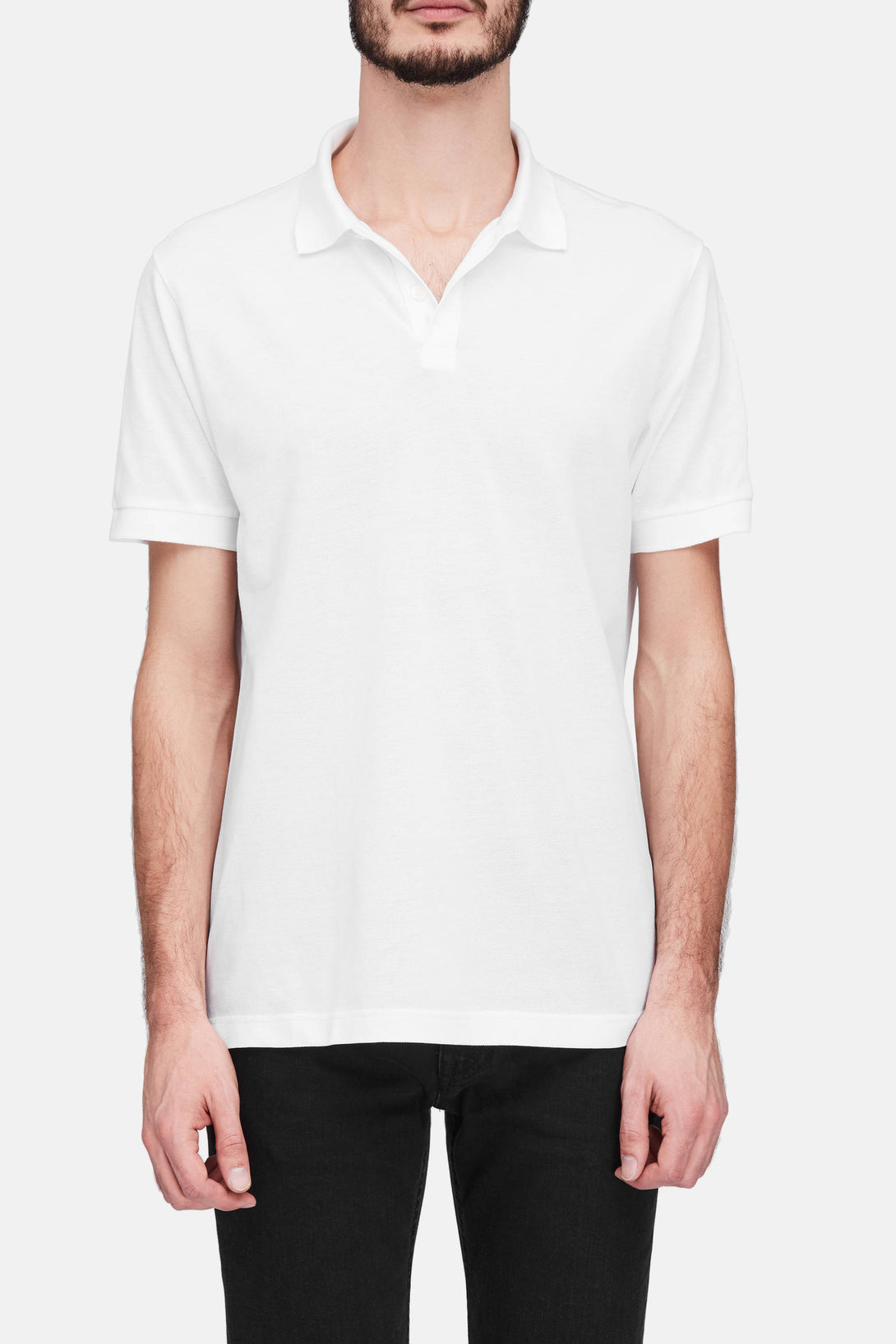 Short Sleeve Pique Polo - White