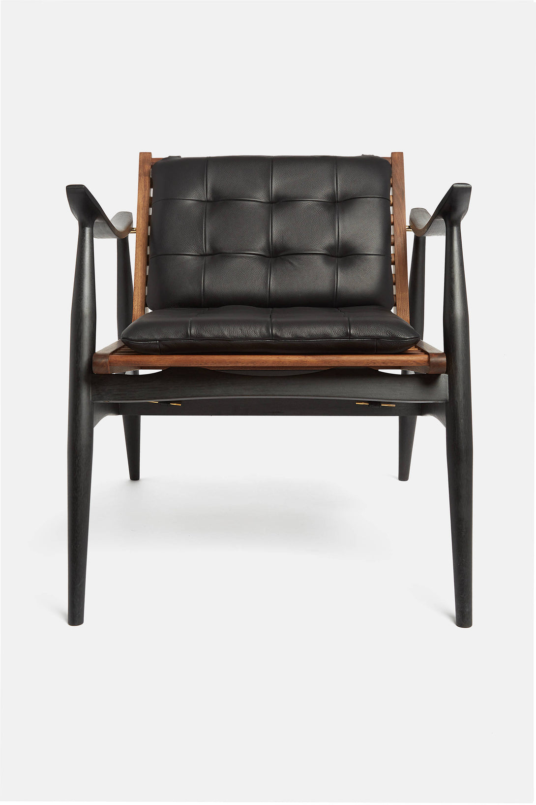... Matte Black And Walnut Atra Chair With Black Leather Cushions ...