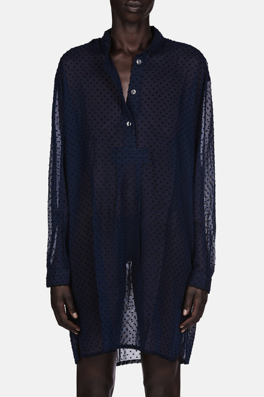 Short Sleep Shirt - Navy Swiss Dot
