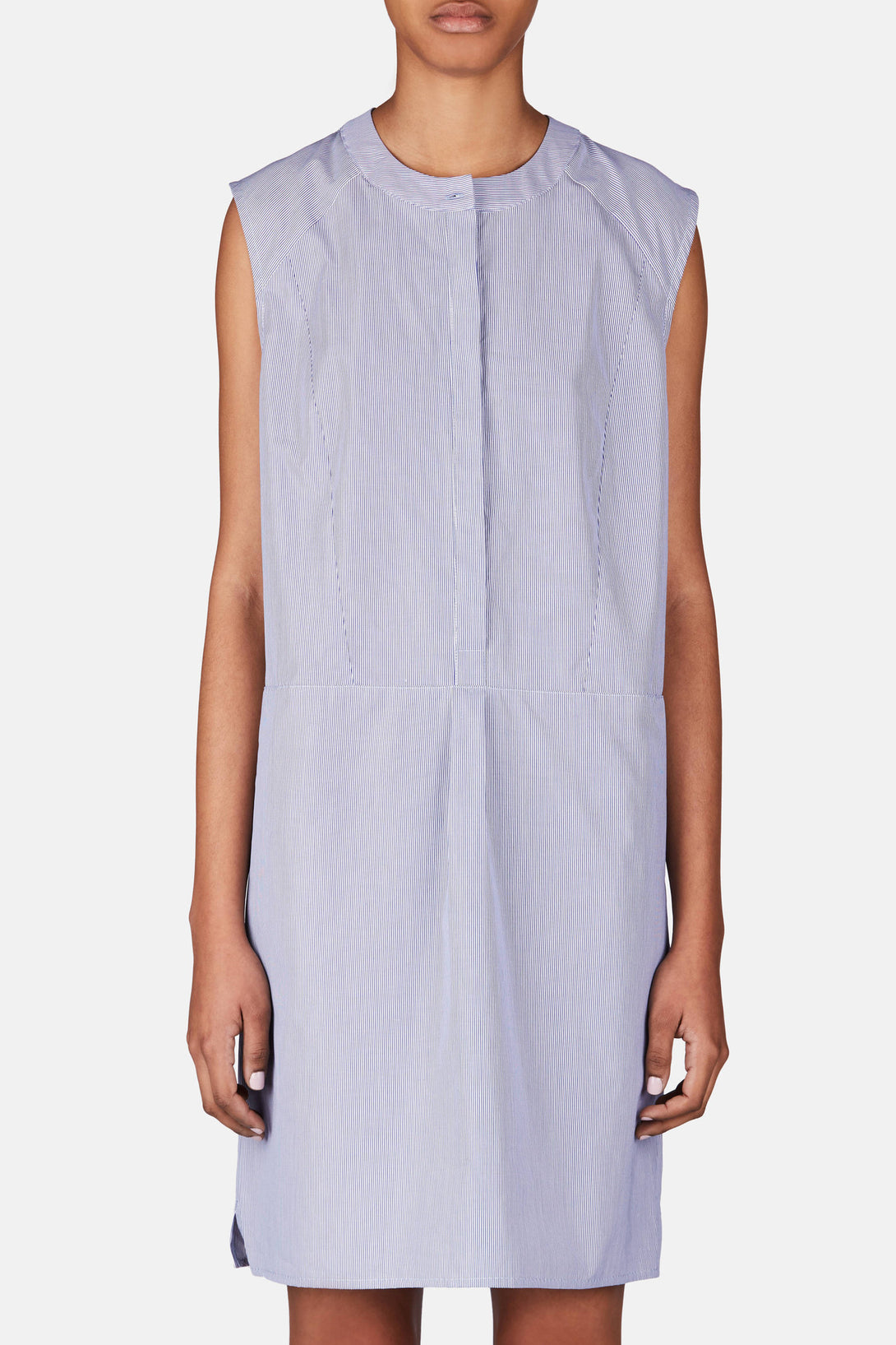 Sleeveless Shirt Dress - Navy/White